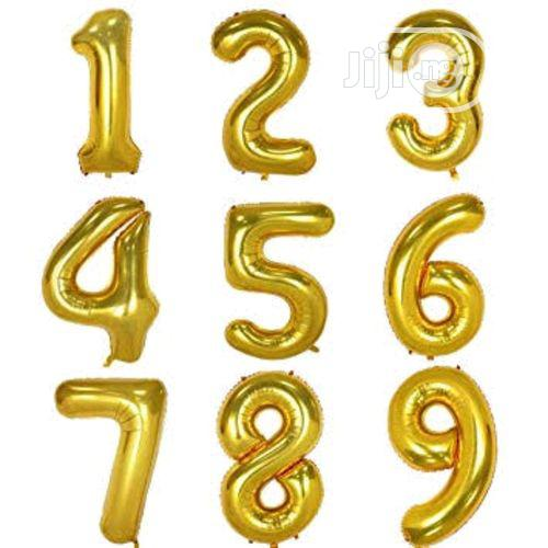 0~9 Gold Foil Balloons For Birthday Wedding Party