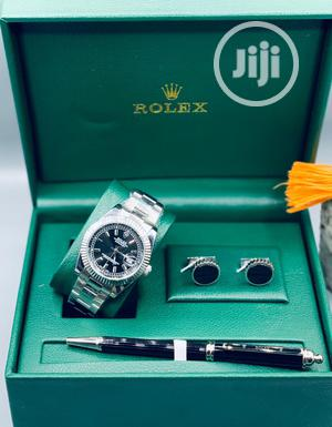 Rolex Oyster Perpetual Silver Chain Watch/Pen And Cufflinks | Watches for sale in Lagos State, Lagos Island (Eko)