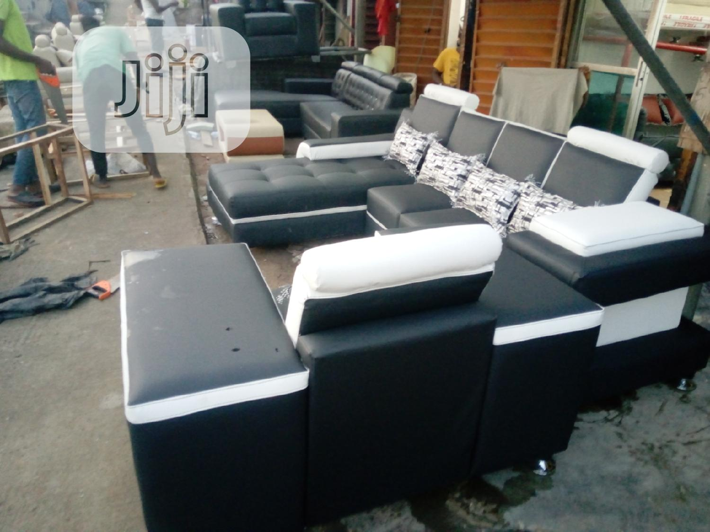 L Shaped Leather Sofa With Throw Pillows In Ikeja Furniture Tony Sixtus Jiji Ng