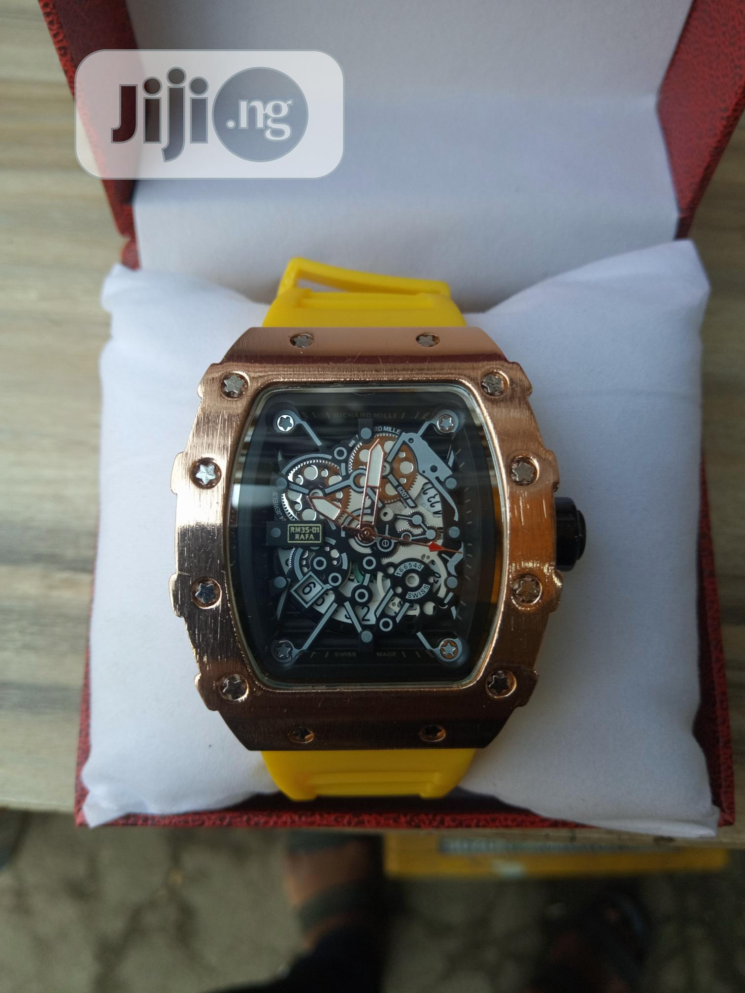 Richard Mille Men's Yellow Rubber Wristwatch | Watches for sale in Surulere, Lagos State, Nigeria
