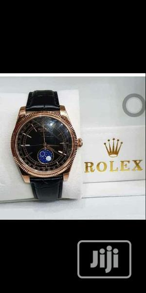 Rolex Oyster Perpetual Rose Gold Leather Strap Watch   Watches for sale in Lagos State, Lagos Island (Eko)