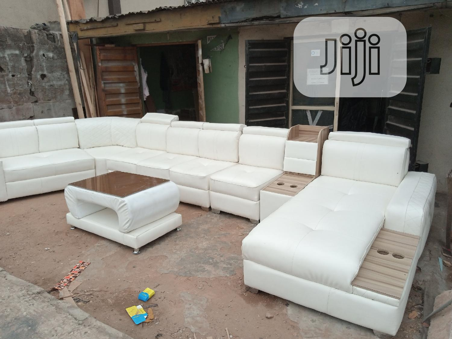 Picture of: U Shaped Leather Sofa With Center Table In Ikeja Furniture Tochukwu Best Furniture Jiji Ng