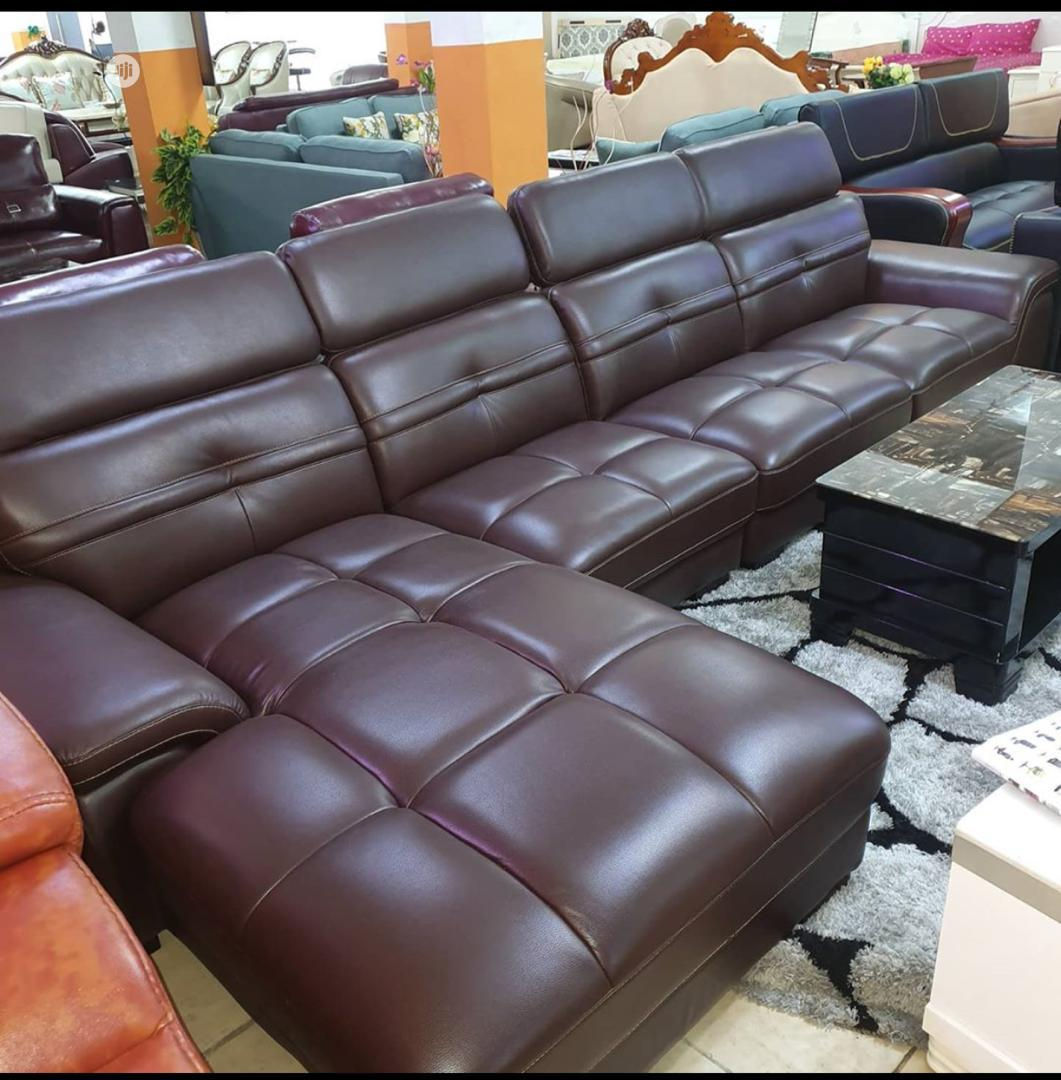 Imported Adjustable Head Rest L Shape Leather Sofa