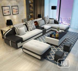 L-Shaped Sofa Chair With Table and Ottoman. Classic Couch   Furniture for sale in Lagos State, Ikeja