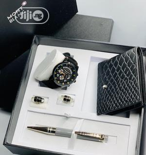 Montblanc Chronograph Leather Strap Watch/Pen and Cufflinks   Watches for sale in Lagos State, Lagos Island (Eko)