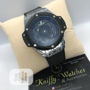 Hublot Silver/Black Leather Strap Watch | Watches for sale in Lagos State, Lagos Island