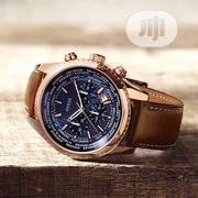 Guess Chronograph Rose Gold Leather Strap Watch | Watches for sale in Lagos State, Lagos Island