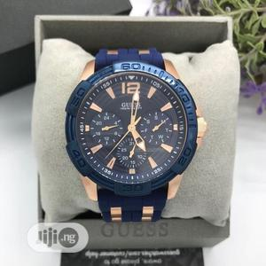 Guess Chronograph Rose Gold/Blue Rubber Strap Watch | Watches for sale in Lagos State, Lagos Island (Eko)