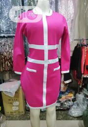 Pink With White Stripe Designed Fitted Gown. | Clothing for sale in Lagos State, Ojo