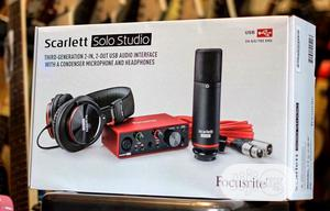 Focusrite Scarlete Solo With Mic, Cable Wire And Earphones. | Headphones for sale in Edo State, Benin City