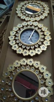 Golden Wall Clock With Mirror | Home Accessories for sale in Lagos State, Lagos Island