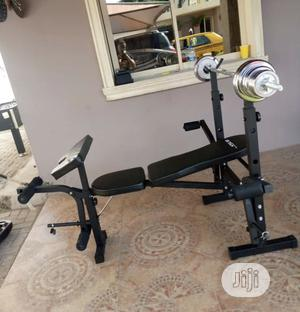 Weight Bench With 50kg Barbell   Sports Equipment for sale in Abuja (FCT) State, Maitama