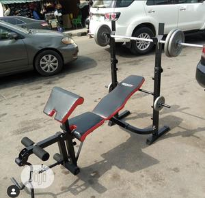 Weight Lifting Bench With 50kg Barbell | Sports Equipment for sale in Lagos State, Ilupeju