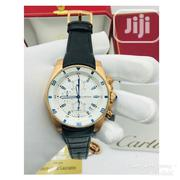Cartier Chronograph Rose Gold Leather Strap Watch | Watches for sale in Lagos State, Lagos Island