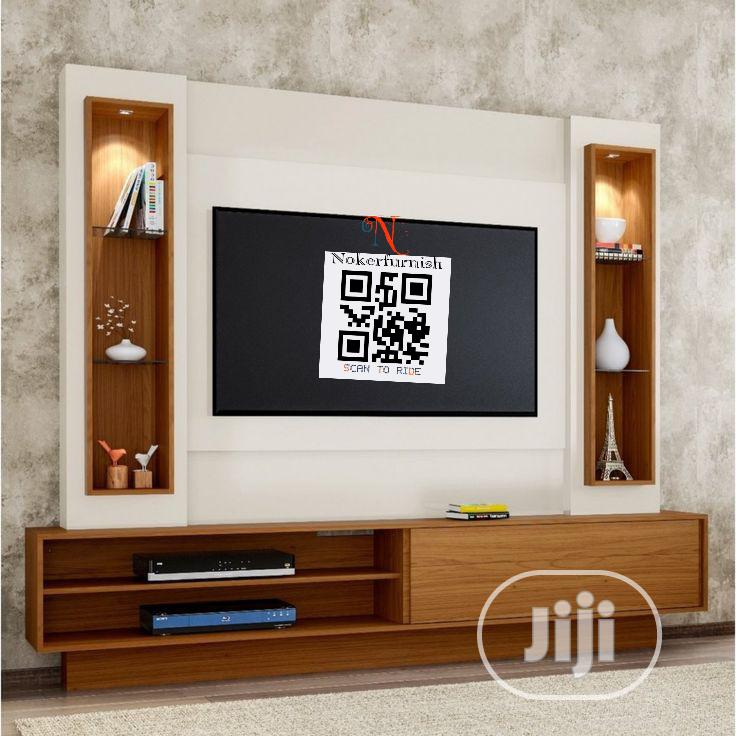 Contemporary Panel TV Stand With LED Lights