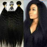 Kinky Straight 14inches 100% Human Hair (3 Bundles + Closures= | Hair Beauty for sale in Lagos State, Magodo