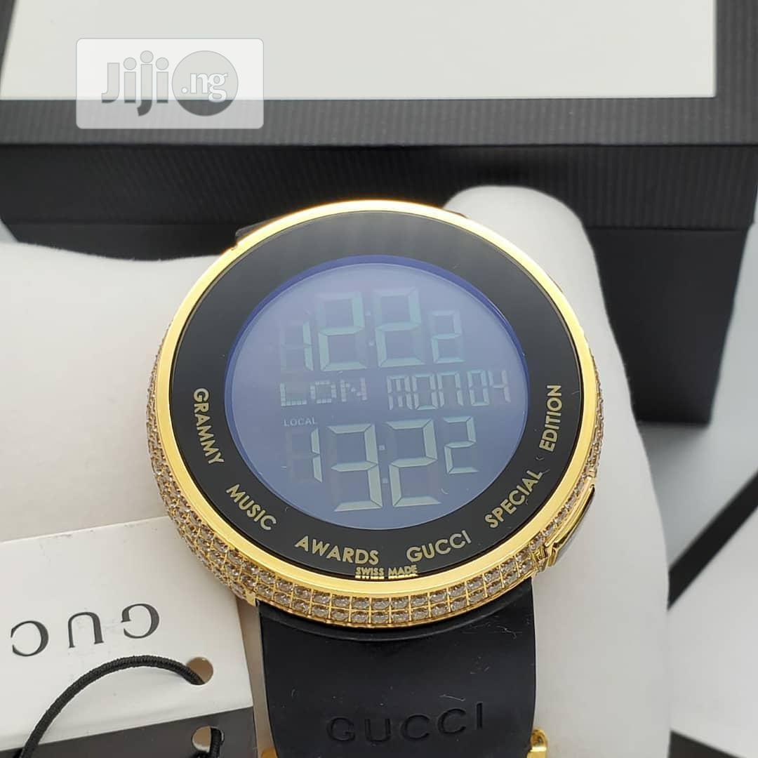 Gucci Gold Ice Head Digital Rubber Strap Watch