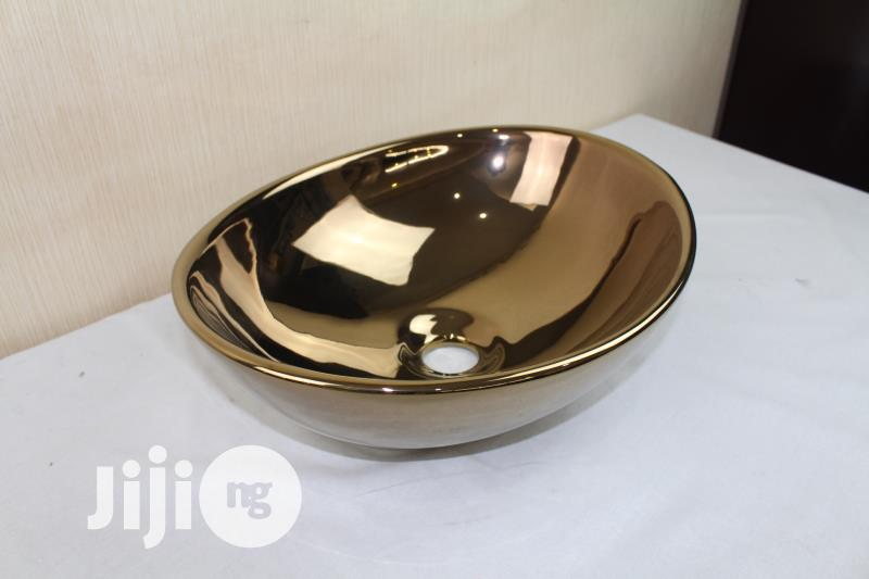 Gold Wash Basins, For Salons And Homes | Salon Equipment for sale in Mushin, Lagos State, Nigeria