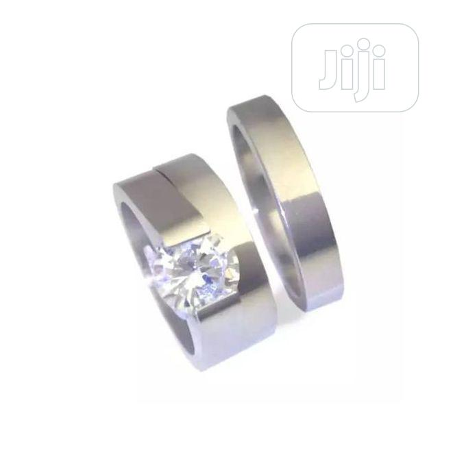 Stainless Silver Wedding And Engagement Ring