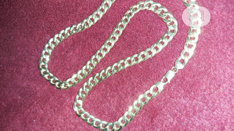 18karat Solid Gold Necklace Cuban Design   Jewelry for sale in Amuwo-Odofin, Lagos State, Nigeria