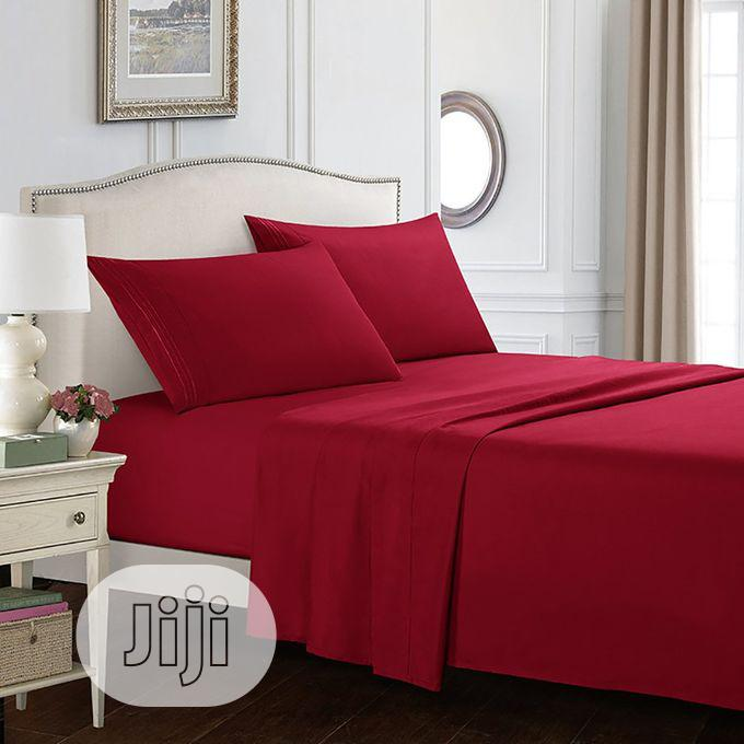 Quality Wine Colour Duvet,Bedsheet With 4 Pillow Cases | Home Accessories for sale in Ikeja, Lagos State, Nigeria