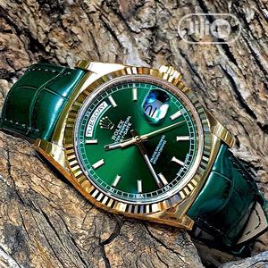 Rolex Oyster Perpetual Day-Date Gold Green Leather Strap Watch   Watches for sale in Lagos State, Lagos Island (Eko)