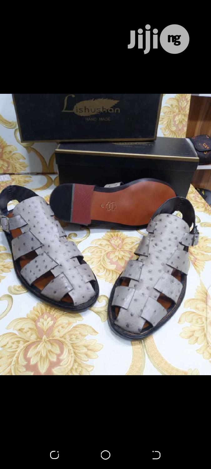 Original Lishushan Leathet Sandals for Men Available. | Shoes for sale in Lagos Island, Lagos State, Nigeria