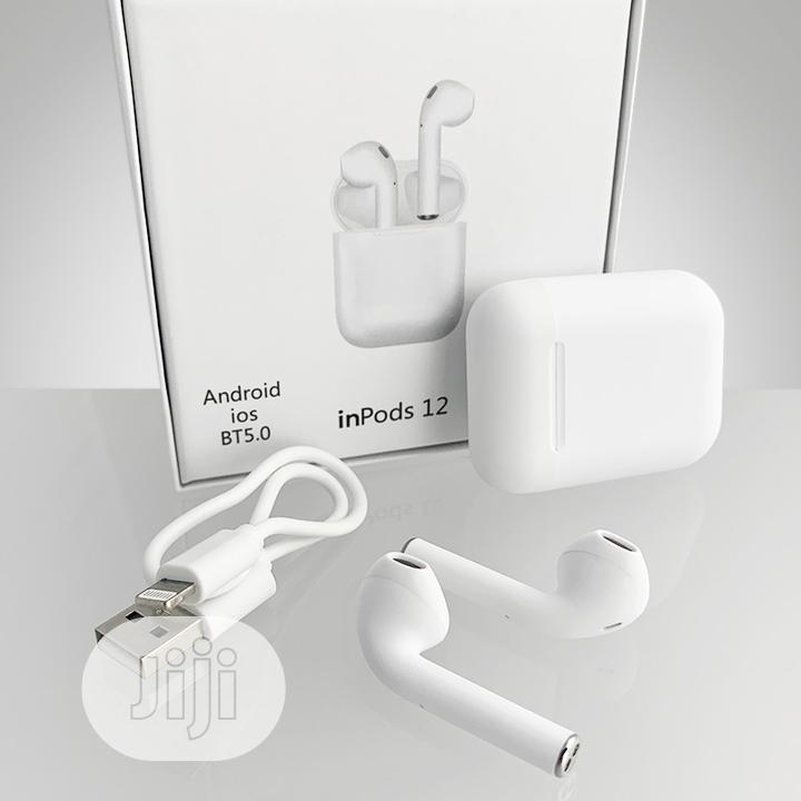 Inpods 12 Wireless Earphones Bluetooth 5.0-color White Matte Finish   Headphones for sale in Lagos Island, Lagos State, Nigeria