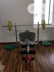 Commercial Weightlifting Bench With Olympic Bar and Plate | Sports Equipment for sale in Lagos State, Surulere