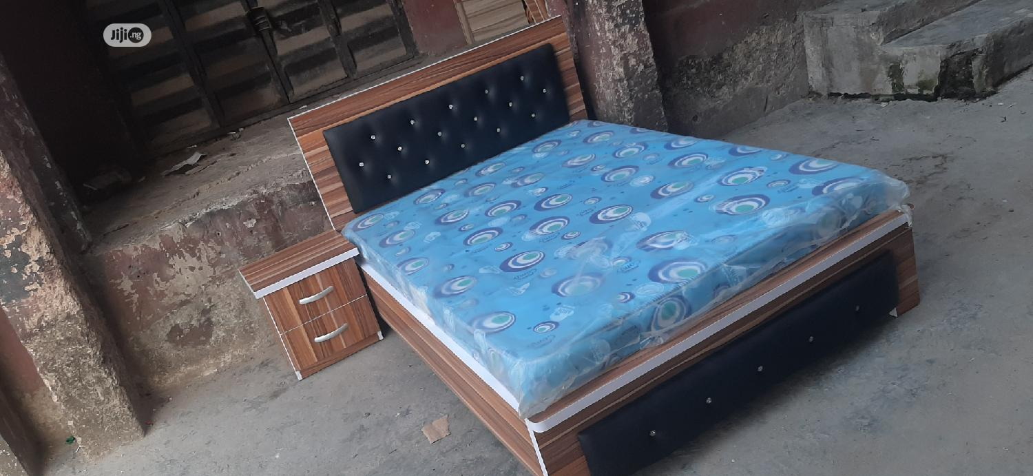 (4*5×6) Bedframe With Mouka Matrass And 1 Bedside | Furniture for sale in Ojo, Lagos State, Nigeria