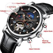 Mechanical Watch Luxury Men Business Leather Band For Men Black | Watches for sale in Lagos State, Orile