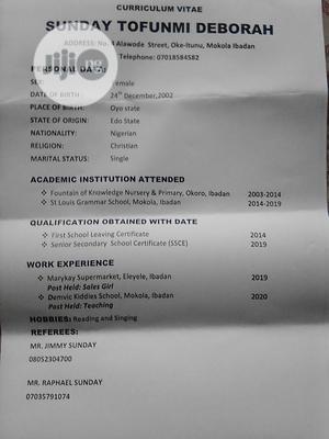 Healthcare & Nursing CV | Healthcare & Nursing CVs for sale in Oyo State, Ibadan