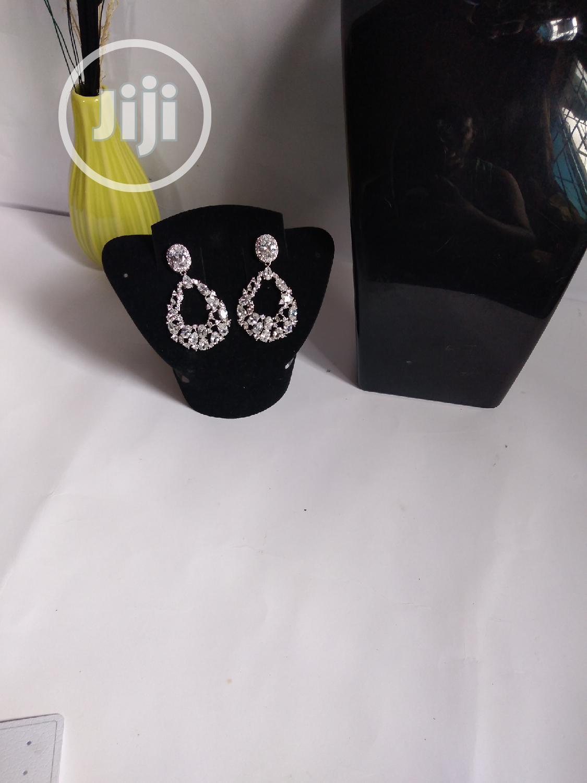 Silver Stoned Earring