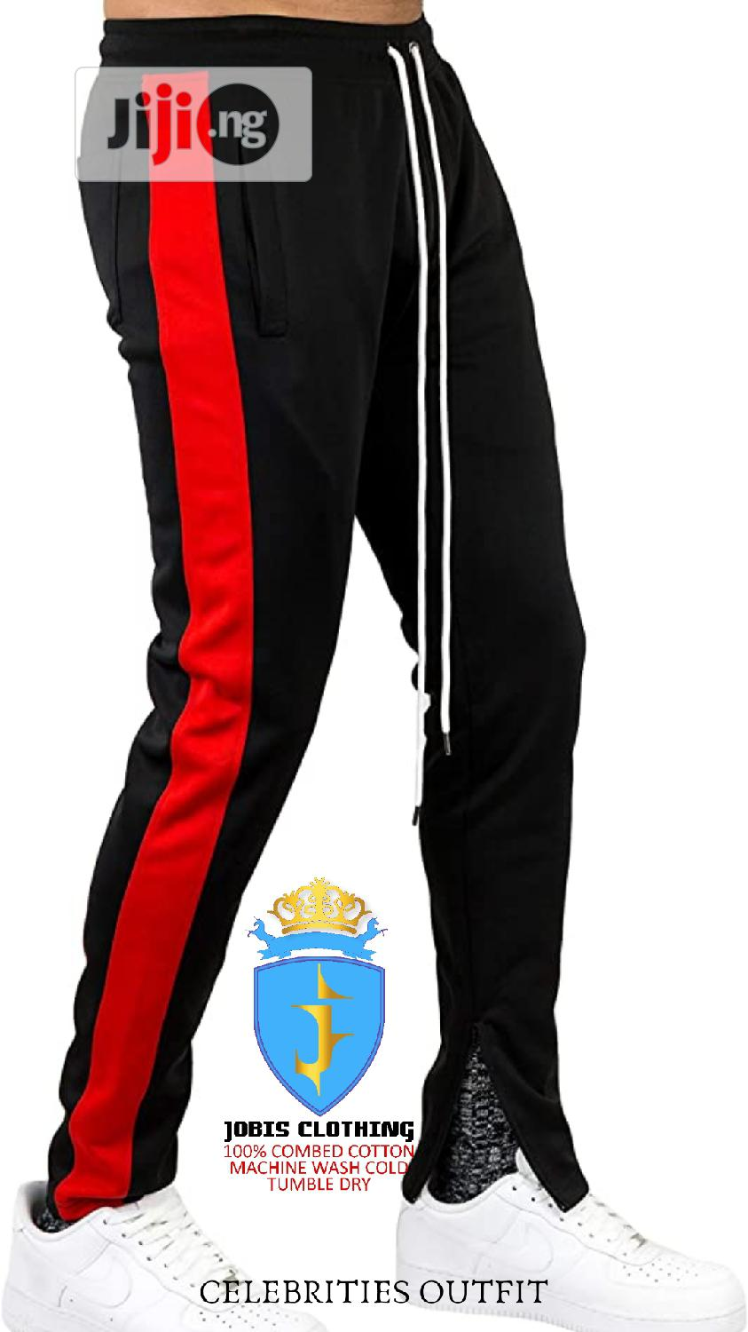 Black and Red Stripe TRACKPANT Outfit