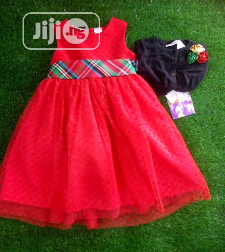 Colourful Red Burberry Dress for Girls
