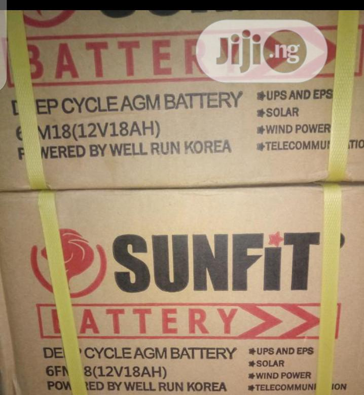 12volt 18ahs Sunfit Battery | Solar Energy for sale in Ojo, Lagos State, Nigeria