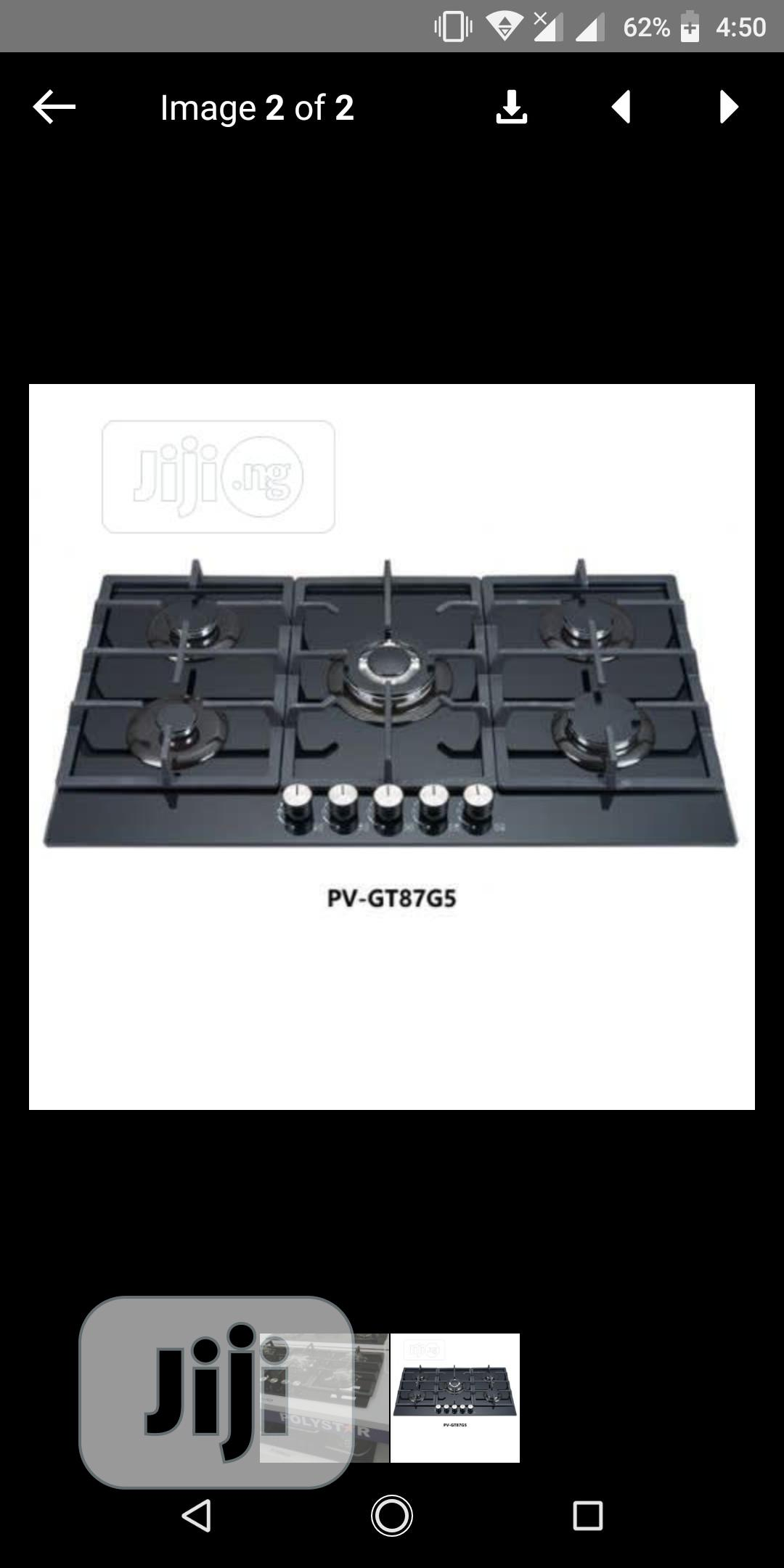 Brand New Polystar Cooker Cabinet Gas 5 Burners Automatic 3 YEARS | Kitchen Appliances for sale in Ojo, Lagos State, Nigeria
