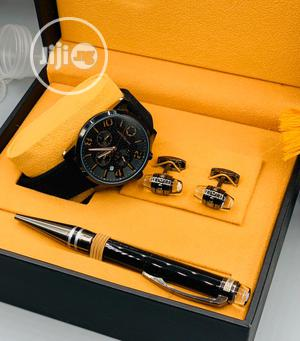 Montblanc Chronograph Black Leather Strap Watch/Pen and Cufflinks   Watches for sale in Lagos State, Lagos Island (Eko)