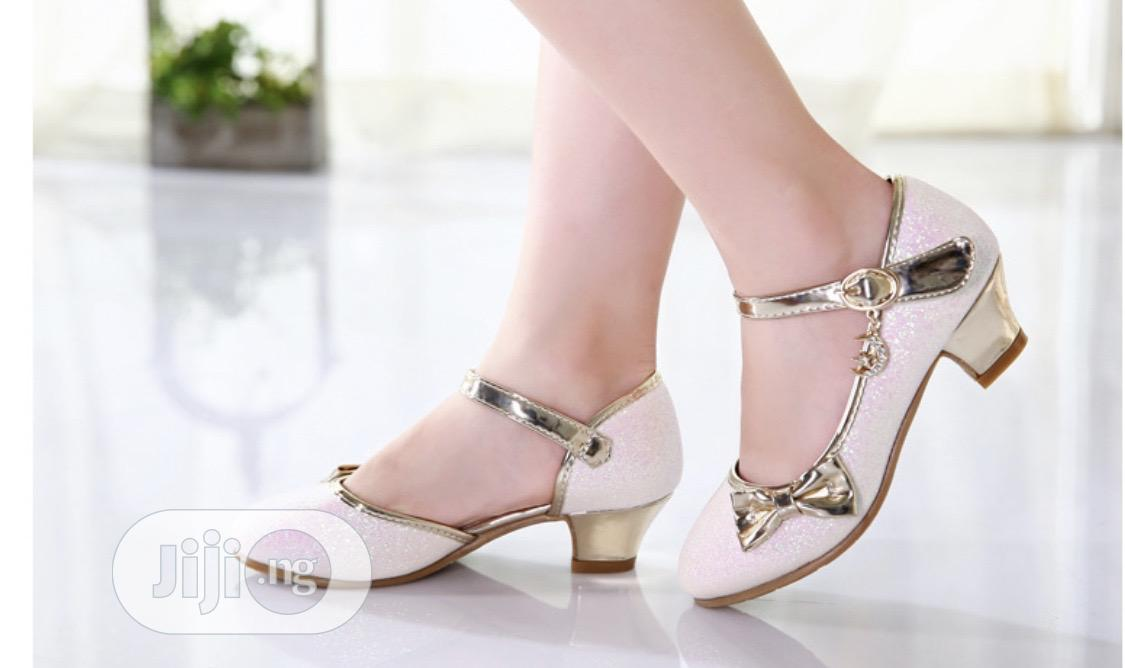 Beautiful Princess Shimmering Gold Heels Shoe | Children's Shoes for sale in Isolo, Lagos State, Nigeria