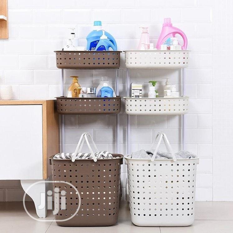 3 Tiers Storage With Laundry Basket