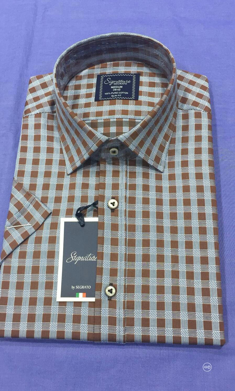 Short Sleeve Men's Checked Shirts