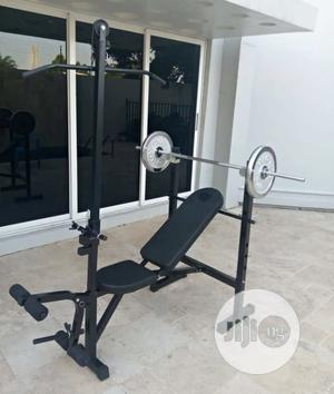 Multi Purpose Weight Bench With 50kg Barbell   Sports Equipment for sale in Lagos State, Amuwo-Odofin