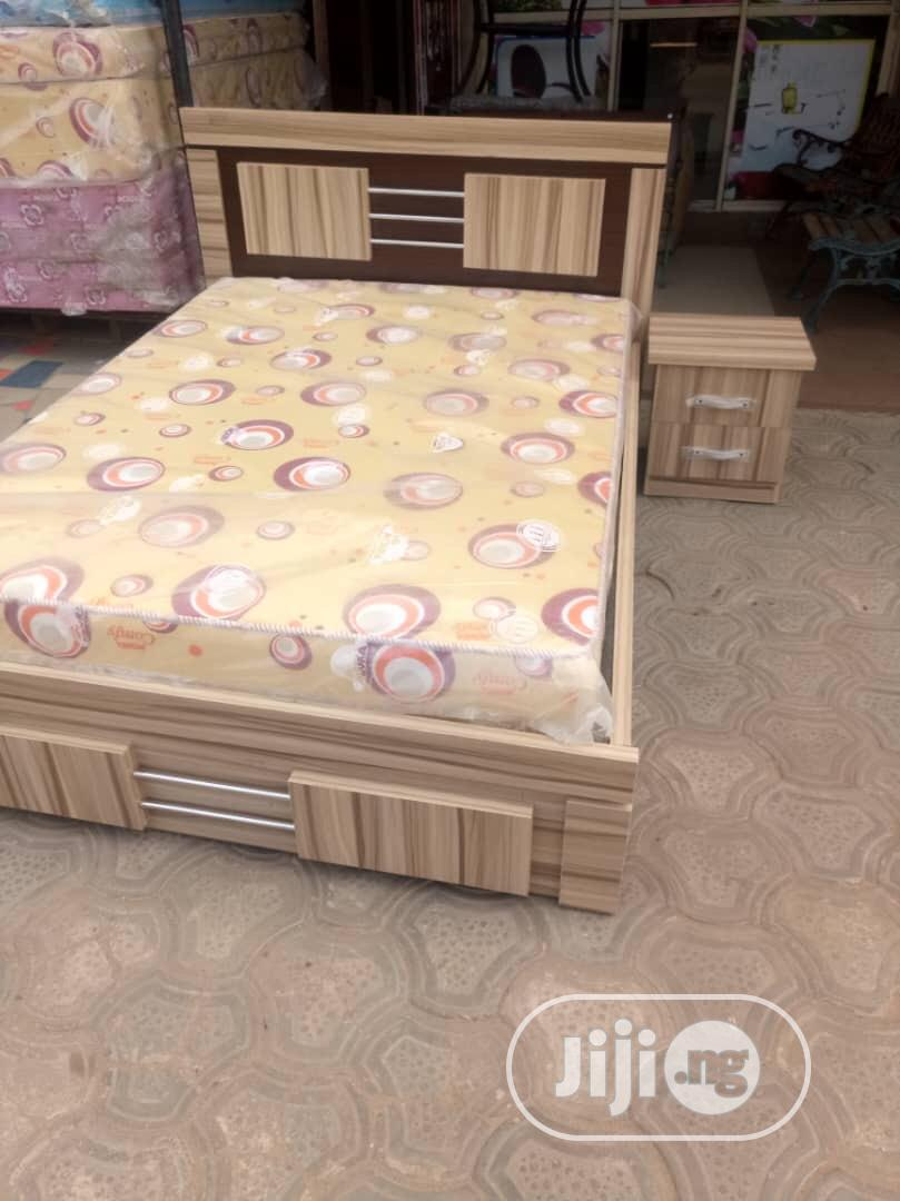 4nd Half by 6 Bedframe Nd One Bed Side,And Original Mouka Mattress | Furniture for sale in Ojo, Lagos State, Nigeria