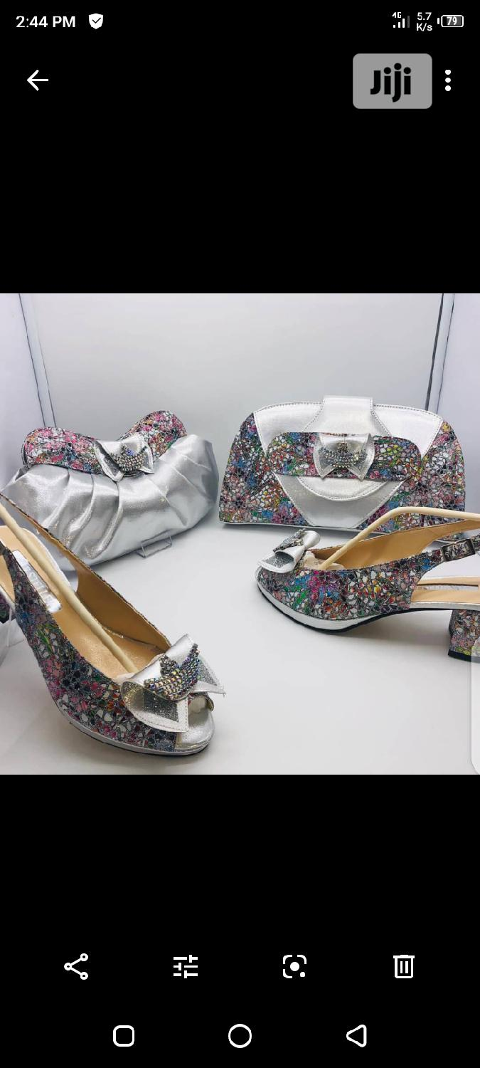 Silver Italian Shoe and Bag | Shoes for sale in Lagos Island, Lagos State, Nigeria