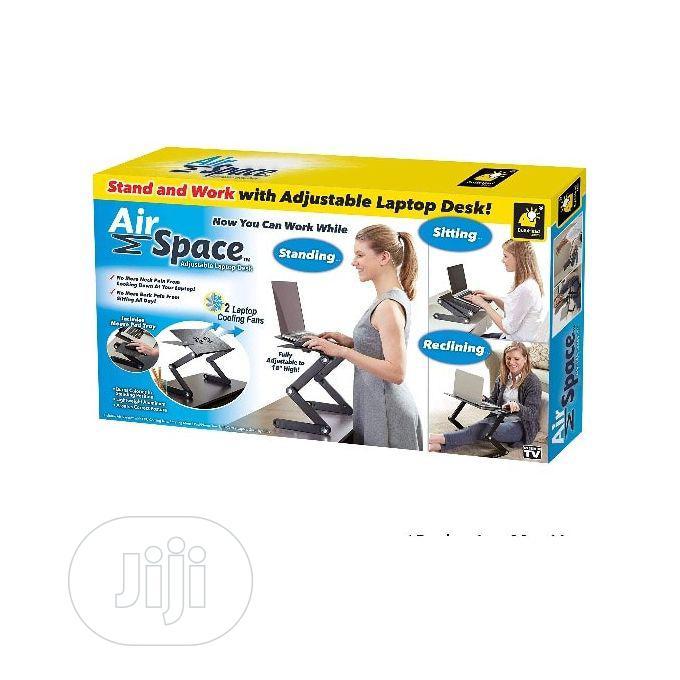 Airspace Adjustable Laptop Desk Wt Mouse Pad & Cooling Fan