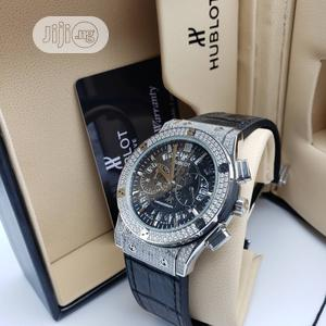 Hublot Chronograph Full Ice Silver Leather Strap Watch   Watches for sale in Lagos State, Lagos Island (Eko)