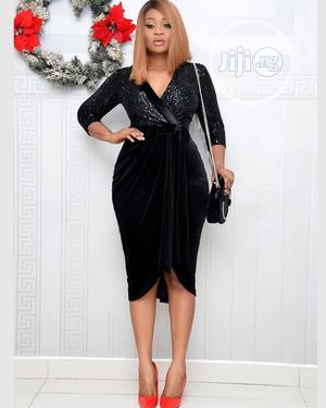 Ladies Black Swede Wrapped Formal Dress   Clothing for sale in Lagos State, Ikeja
