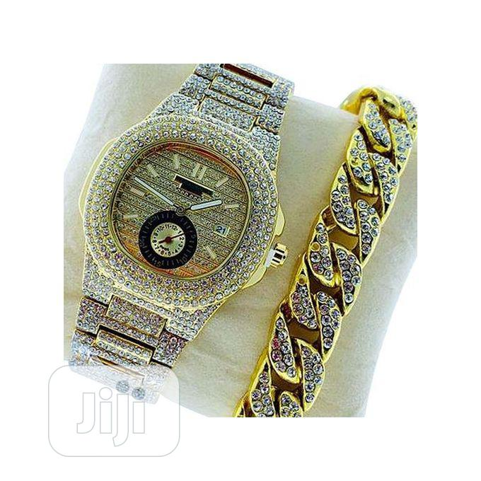 Archive: Iced Men's Wristwatch With Hand Chain-gold