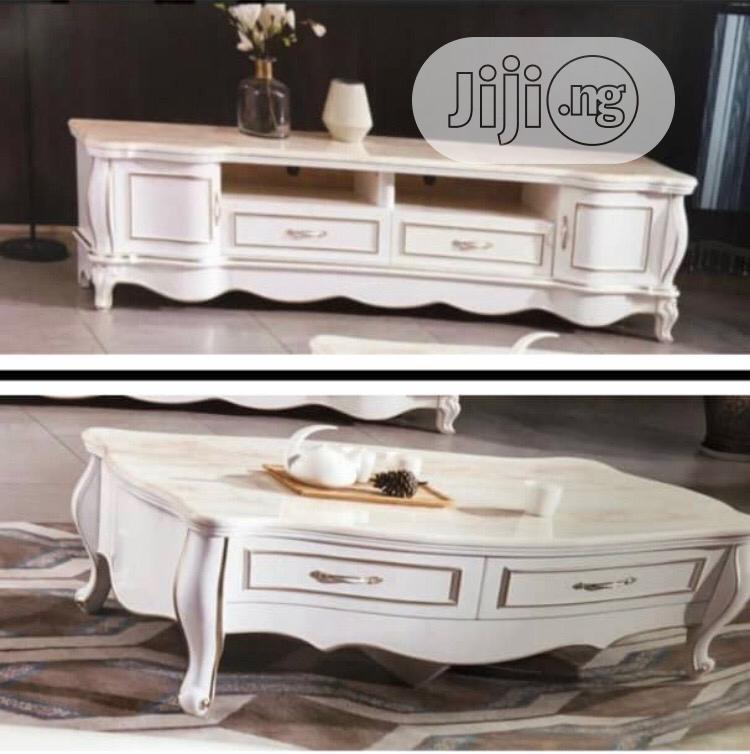 Royal TV Bench With The Center Table With Marble Top (Set)