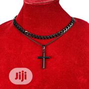 Cross Pendant With 2 Cuban Chains. Black | Jewelry for sale in Lagos State, Amuwo-Odofin